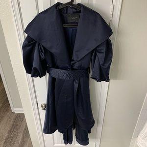 Dramatic navy satin coat